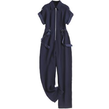 夏款时尚拼接织带翻领蝙蝠袖连体工装裤