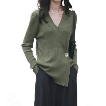 施悦名秋季法式简约不规则女式羊毛针织衫系带休闲套头羊毛混纺
