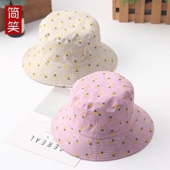 韩版女士菠萝布帽可折叠双面渔夫帽可爱时尚盆帽