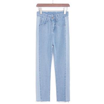 女士韩版牛仔裤侧边拼接水洗牛仔九分裤直筒裤