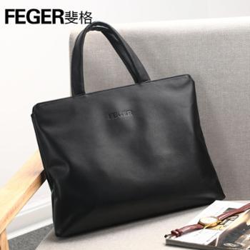 斐格(feger)男包牛皮男士手提包商务单肩电脑包2006黑色送电脑内胆包