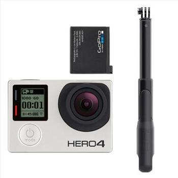 GoProHERO4Silver运动摄像机旅行套装(相机+电池+SP37寸自拍杆)