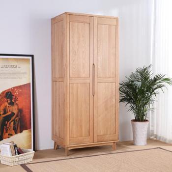 双李家具实木衣柜两门三门衣柜白橡木大空间储物壁柜衣橱
