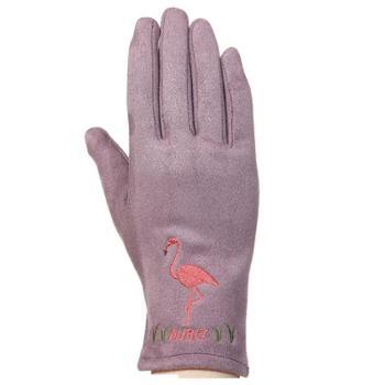 暖佳贝韩版创意时尚麂皮绒手套 秋冬保暖防寒
