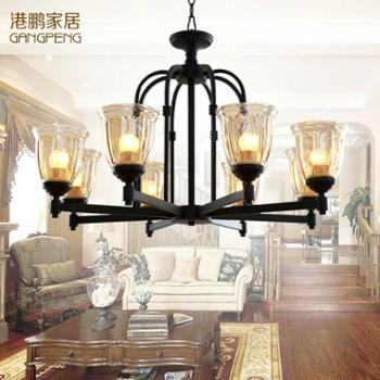 港鹏美式吊灯美式乡村田园铁艺灯具简欧复古餐厅灯卧室客厅吊灯