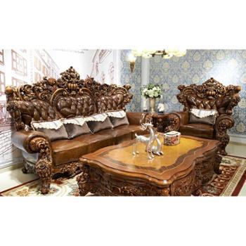 诗布特欧式沙发实木美式真皮沙发组合