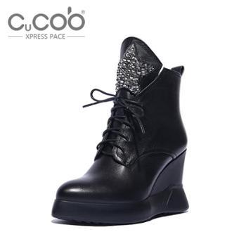 库奇卡勃2015新品冬季马丁靴潮短靴女厚底英伦坡跟真皮内增高女鞋