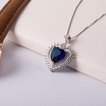 相约银饰925银项链心形镶嵌蓝水晶人工纯银项链坠送女友