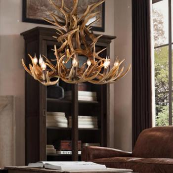 美式复古工业餐厅吊灯创意个性树脂鹿角吧台客厅吊灯别墅工程灯具