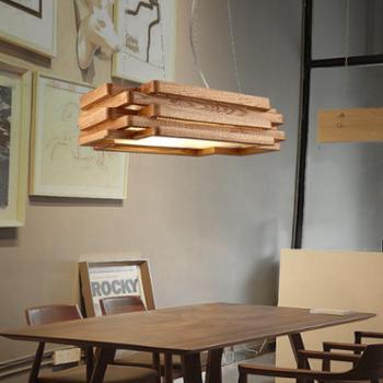 高比灯具 北欧吊灯餐厅灯现代简约灯具卧室饭厅灯长方形吊灯中式实木艺吊灯