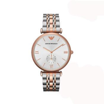 阿玛尼(ARMANI)超薄时尚简洁圆盘英伦风钢带石英男士手表女士小表盘手表AR1682女士