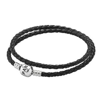 PANDORA 潘多拉基础链手链 黑色双圈皮绳手链