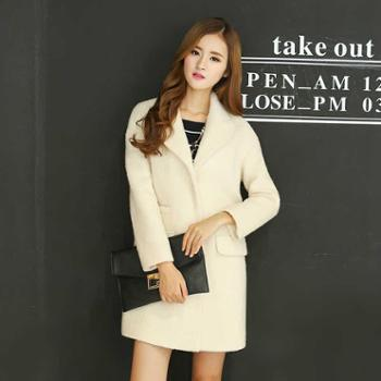 2015秋冬装新款韩版女装修身中长款羊毛呢风衣外套呢子大衣外套女