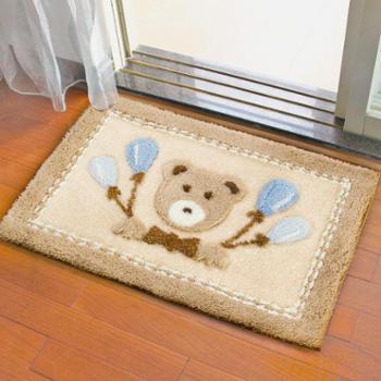 得喜植绒家居地垫地毯50*80cm家用厕所浴室防滑垫入户玄关进门吸水脚垫