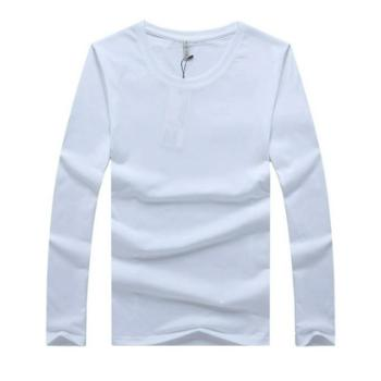 明地一族男士T恤春秋纯色棉质长袖圆领休闲百搭打底衫印花青年T恤衫