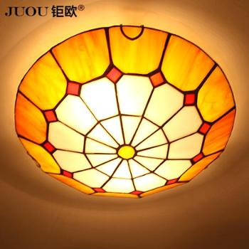 钜欧灯饰乡村LED吸顶灯欧式顶灯帝凡尼彩绘玻璃灯饰地中海客厅灯卧室灯具