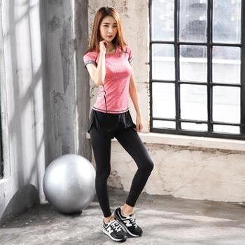 派衣阁 韩版新款短袖瑜珈服两件套户外运动健身瑜伽服套装女