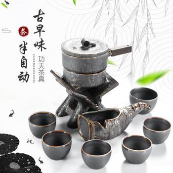 聚森 懒人石磨半自动陶瓷功夫茶具套装整套冰裂茶具