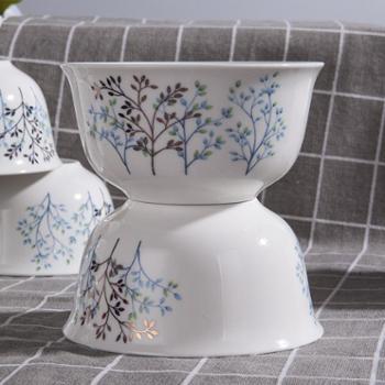 竹林间 56头骨瓷餐具套装陶瓷器碗碟套碗发财树骨瓷餐具