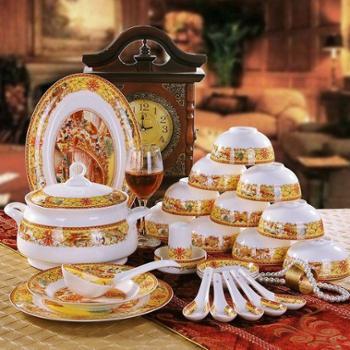 竹林间 56头釉中彩骨瓷餐具套装景德镇陶瓷器碗碟套碗清明上河图