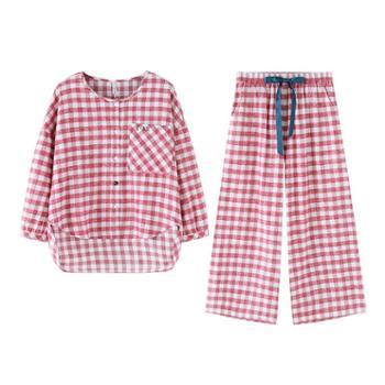 菲蜜莉新款色织格睡衣女春时尚简约长袖阔腿裤日式可外穿居家居服