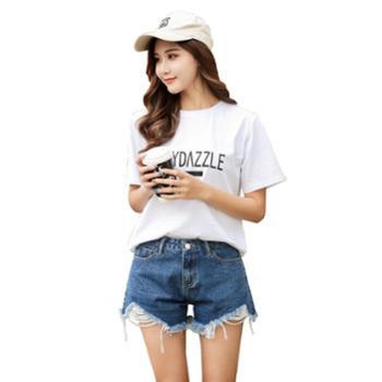 SKT春夏新款韩版女装女式牛仔短裤女夏高腰破洞性感热裤潮超短裤