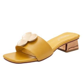 淇路缘新款浅口韩版人造PU圆头平跟夏季时尚女凉鞋