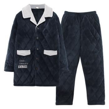 菲蜜莉珊瑚绒睡衣男秋冬开衫简约保暖加厚可外穿家居服休闲套装