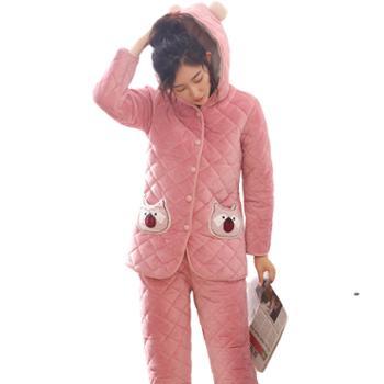 菲蜜莉珊瑚绒睡衣女冬三层夹棉简约加绒加厚带帽保暖时尚家居服套装