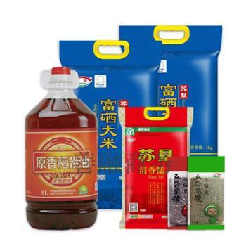 苏垦富硒米5kg 2袋+苏垦稻米油5L+苏垦清香糯米2kg