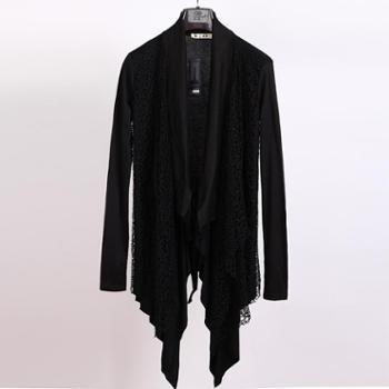 春夏韩版长袖开衫针织衫男原创中长款披风外套薄款发型师潮男上衣