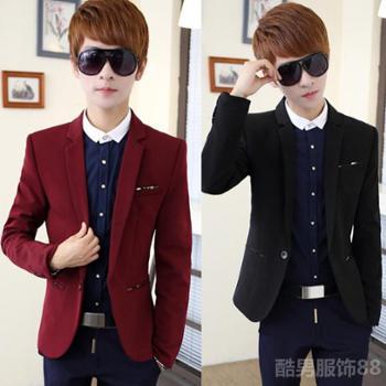 秋冬新款青年男西装韩版修身英伦小西装外套潮一粒扣西装礼服上衣