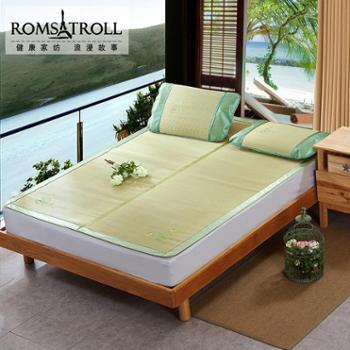 浪漫故事 天然草席凉席 1.8m床折叠三件套1.5米天然单双人凉席子