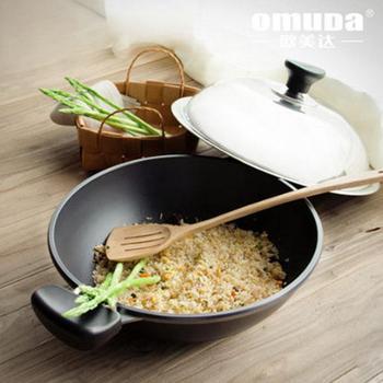 欧美达铸造铁锅无烟炒锅 36cm