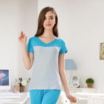 新洁霓夏款莫代尔条纹波点短袖七分裤睡衣家居服套装643602