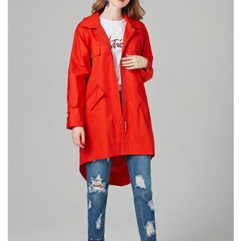 熙泊雅秋款橘红色中长款不规则底边大口袋风衣7001