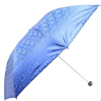 雨伞30151EHQ晴雨伞彩胶折叠遮阳伞防晒防紫外线三折太阳伞