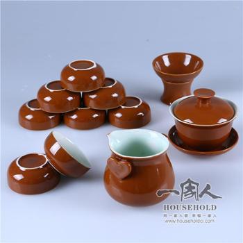 12头咖啡釉茶具套餐