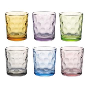 克芮思托小号炫彩珠点彩色玻璃水杯 水晶玻璃杯 220ml 6个装