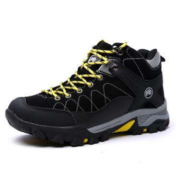 雷宾迪户外加绒登山鞋男女徒步鞋情侣休闲鞋子防水防滑登山鞋6653