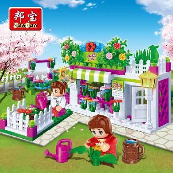 【小颗粒】邦宝包邮媚力都市益智拼装积木女孩玩具小屋鲜花店6116