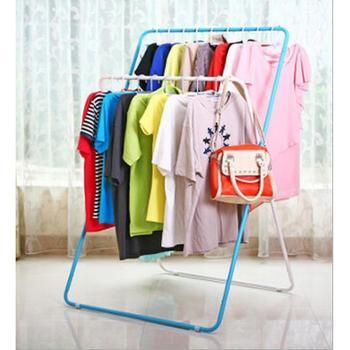 潮土X型创意时尚简约晾衣架落地折叠双杆挂衣架室内移动