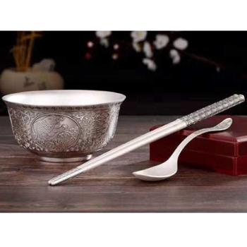福恒金 银餐具新款仿古年年有余餐具 银碗三件套 银碗.银筷.银勺银礼套装