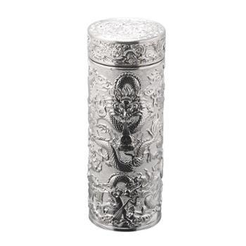 福恒金 九龙银杯足银内胆水杯银茶杯保健银杯银水杯银杯子保温纯银口杯银本色浮雕九龙杯