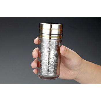 福恒金 银杯子 【6款可选】纯银内胆 水杯 银杯 高档保温杯 袖珍杯商务杯