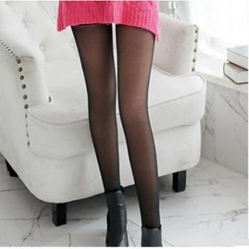 黑色款哈伊费舍女士假透肉袜加厚加绒连裤袜子均码