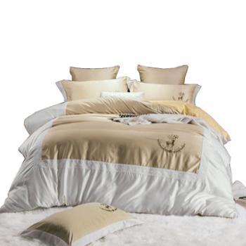 春夏水洗真丝四件套B版全棉绣花纯棉套件床上用品