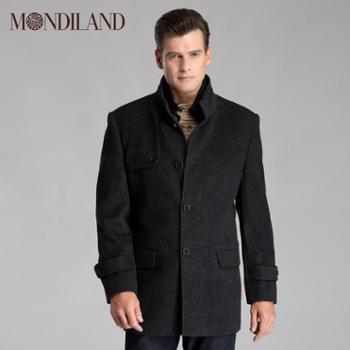MONDILAND麦迪莱登男装时尚商务休闲中长款双层领羊毛尼大衣D1911
