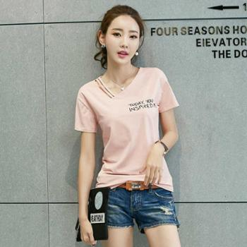 2017春季韩版 短袖纯棉t恤女字母印花打底衫女士T恤上衣女士短袖衫半袖衫