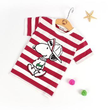 夏季儿童短袖t恤夏装棉质男女童宝宝条纹卡通上衣圆领半袖打底衫